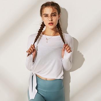 Loose Fit Yoga Top Women Side Split Bandage Sport tshirt Women Streetwear Long Sleeve Running Workout T-shirts Gym Clothing 1