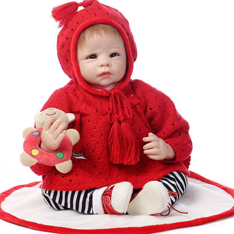 Fashion 50 CM Silicone Reborn Baby Doll with Clothes, Cute 20 Inch Lifelike Baby Newborn Doll Toys for Children hot newborn doll lifelike baby reborn doll with clothes fashion 37 cm cute silicone reborn dolls toys for children