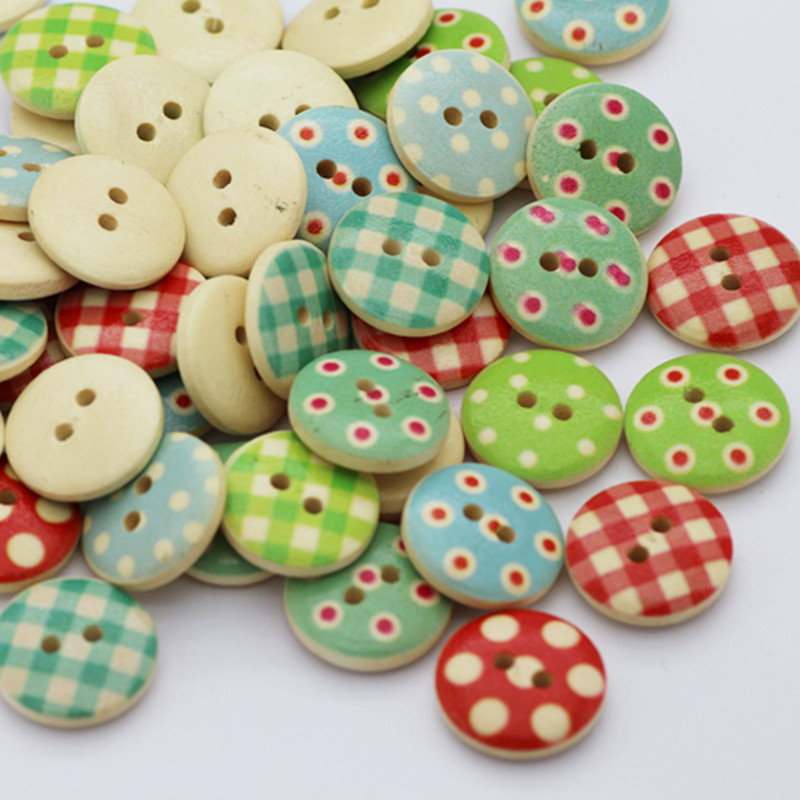 100pcs Wood Sewing Button Scrapbooking 2 Holes for DIY Clothes Dot Pattern