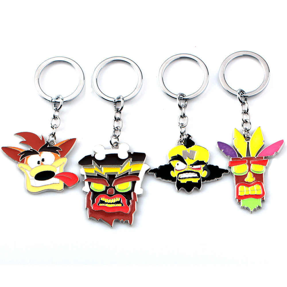 2019 New Crash Bandicoot Game Key Chains for Men Women Cosplay Dog Keychain Male Anime Jewelry Key Holders Keyring Souvenir