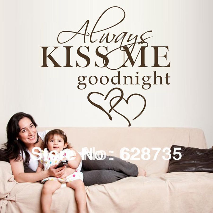 Large size 60x55cm hot selling on ebay free shipping always kiss large size 60x55cm hot selling on ebay free shipping always kiss me goodnight vinyl wall decals sticker bedroom decor q0294 in underwear from mother amipublicfo Images