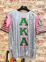 Pailletten Lange O Neck T shirt Party Club Top Lose Kleidung Rosa grün Alpha Kapp Alpha AKA brief Sorority Pailletten T Shirt Kleidung