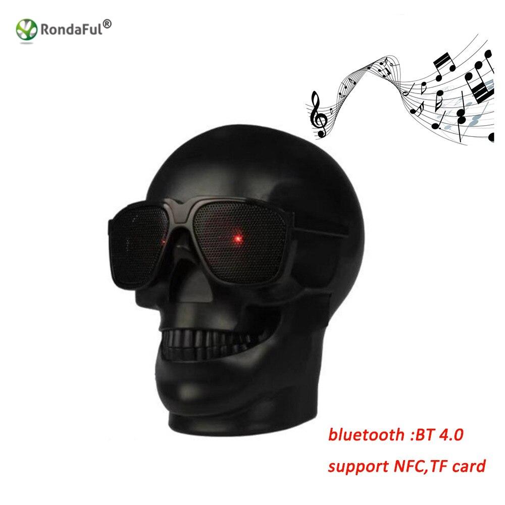 Forma del cranio Altoparlante Senza Fili del Bluetooth Sunglass Skull Altoparlante Mobile Altoparlante Subwoofer Multiuso Musicale Colonna Altoparlante