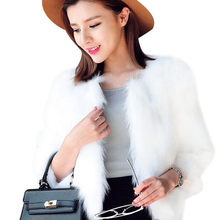 2018 Women Luxury Faux Fur Coat Fluffy Jacket Winter Thick Warm Long Sleeve Fake Fur Coat Ladies White Rabbit Fur Jackets(China)