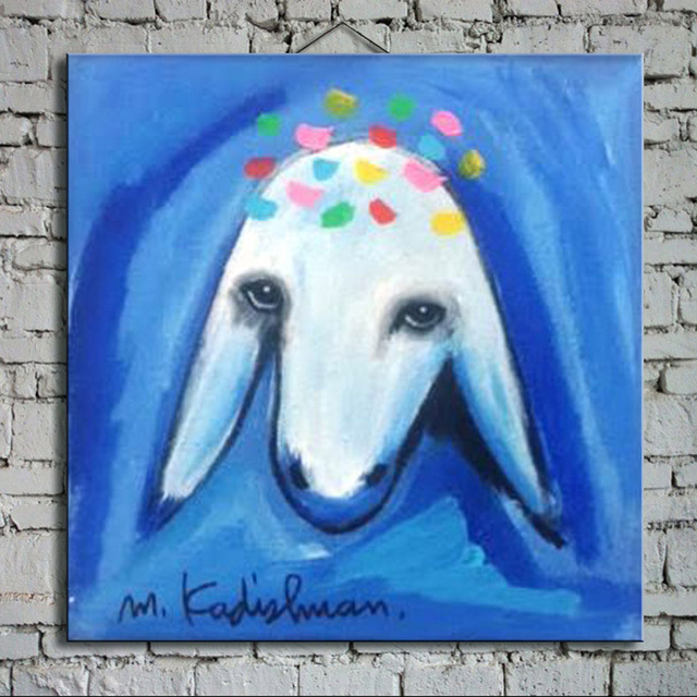 Cartoon Oil Painting on Canvas Abstract Animal Wall Art for Home Decoration  Happy lamb strecth/ no frame DG-001