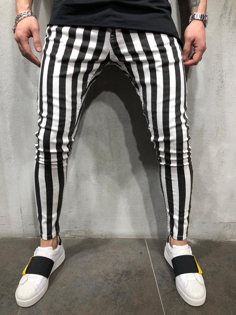 2019 Black And White Stripes Mens Joggers Casual Pants Fitness Men Sportswear Tracksuit Bottoms Skinny Sweatpants Trousers