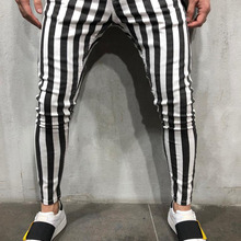 2019 Black and White Stripes Mens Joggers Casual Pants Fitness Men Spo