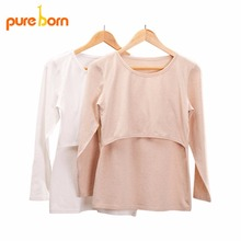 Pureborn Clothing T shirt for Pregnant Women Maternity Clothes for Feeding Nursing Tops Pregnancy Clothes Grossesse