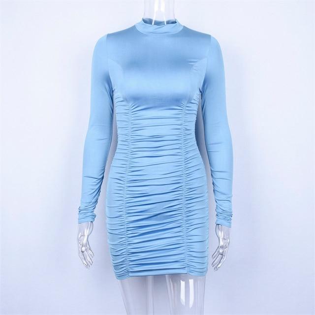 high neck short long sleeved satin dress 3