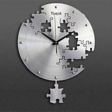 16 Inch Circilar Creative Modern Puzzles Wall Clock Art Solid Design Living Room And Bedroom Mute Watche