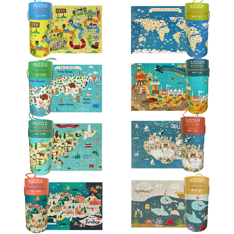8sets 864pcs Cute World Animals Sea Map Five Continents Puzzles Children Educational Toys Baby Preschool Birthday Christmas Gift