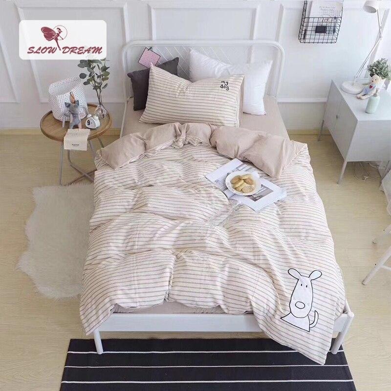 SlowDream Cute White Puppy Cartoon Bedding Set Children Duvet Cover Set 100% Cotton Bed Set With Flat sheet 3pcs