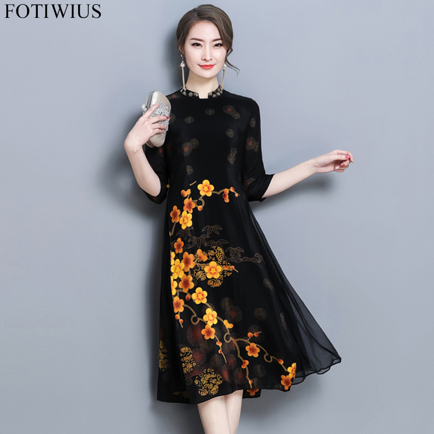 a8fe23432972 Summer Autumn Chinese Silk Dresses Women 3 4 Sleeve Floral Print Retro  Vintage Casual Dresses