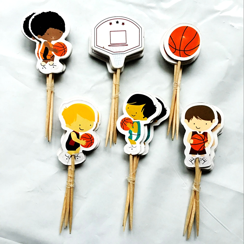 Exquisite Party Decoration /Healthy Living Necessities Store Store 72pcs Basketball Sport Boys Party Cupcake Toppers Handle Decoration Birthday Party Cakes For Children Accessories Toys Supplies