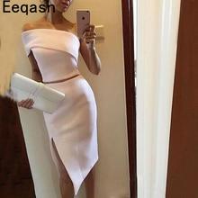Vestidos de cóctel hasta la rodilla de dos piezas para mujer, vestidos de fiesta formales blancos, traje con abertura de lateral Sexy 2020