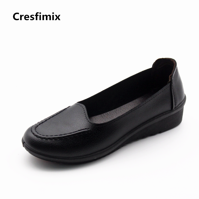 Cresfimix zapatos de mujer women fashion pu leather slip on flat shoes female soft and comfortable black loafers lady shoes hyfmwzs soft and breathable flat shoes women slip on non slip leather shoes woman comfortable lace up ballet flats zapatos mujer