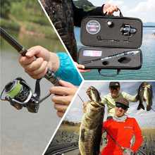 Sougayilang Fishing Rod Combos with Telescopic Fishing Pole Spinning Reels Fishing Carrier Bag Lure line Sets For Travel Fishing