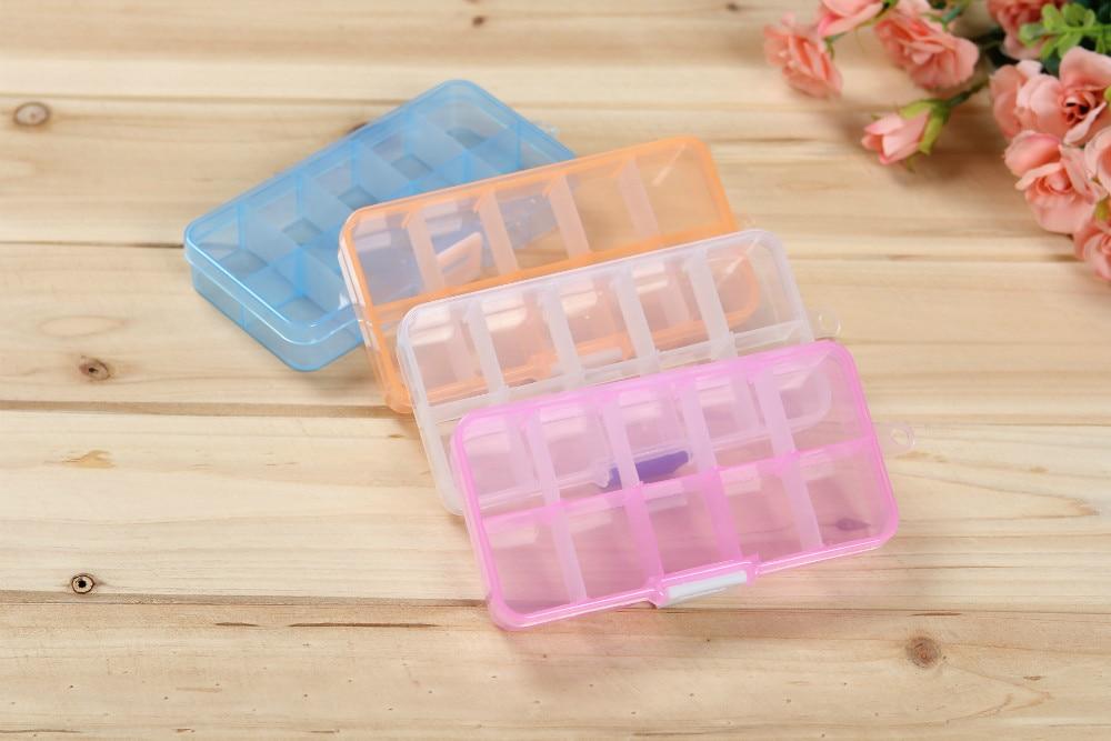 1PC 4 Color 10 grip transparent PP plastic storage jewelry box clear jewel case box J0656