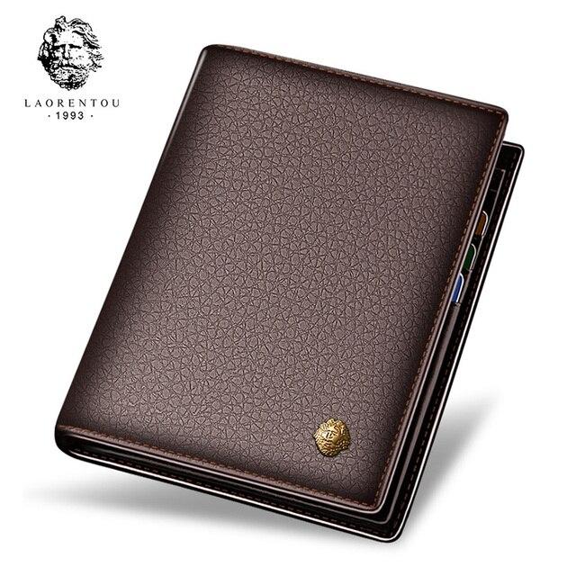 Laorentou мужское портмоне из натуральной кожи Повседневная бумажник для мужчин короткие бумажник Стандартный кошельки, визитницы винтажные Роскошные Человек Кошелек