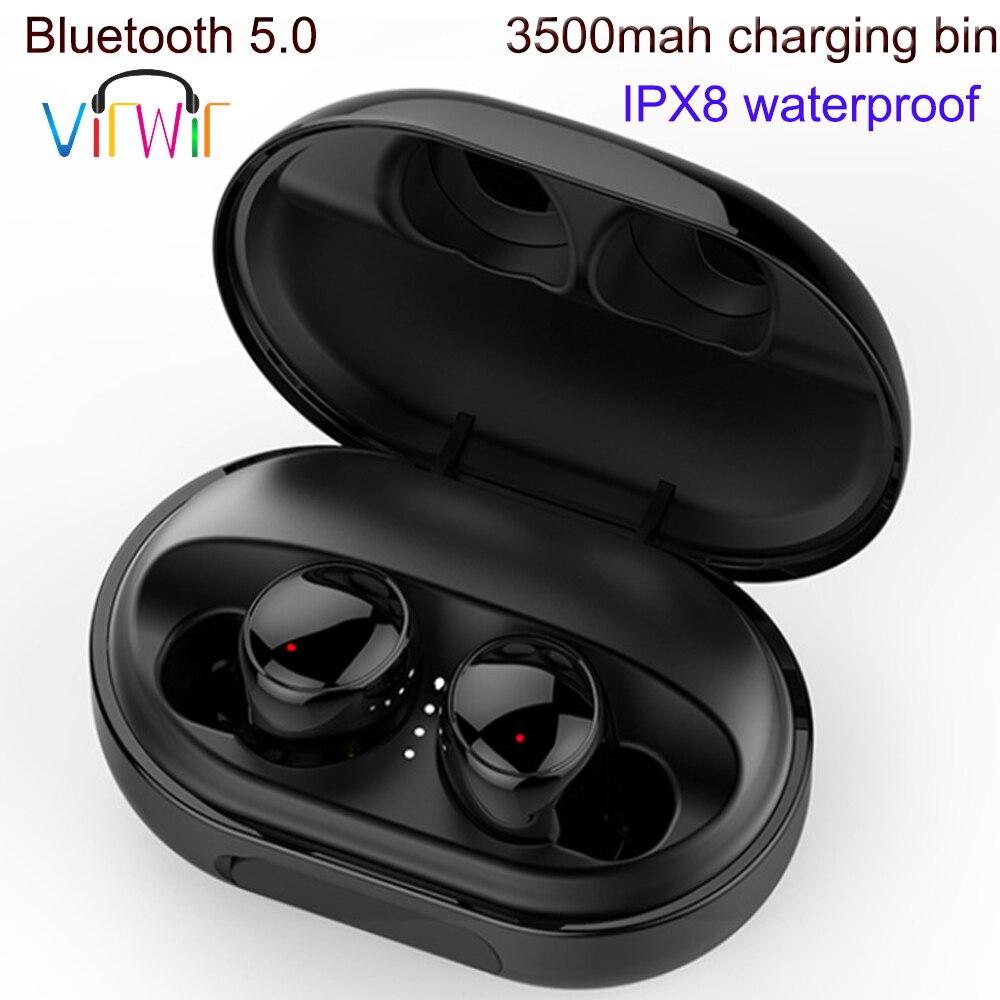 True Wireless Bluetooth5 0 Earphones TWS IPX8 Waterproof Mini Earbuds Cordless Headset bluetooth earpiece earphone 3500mAh