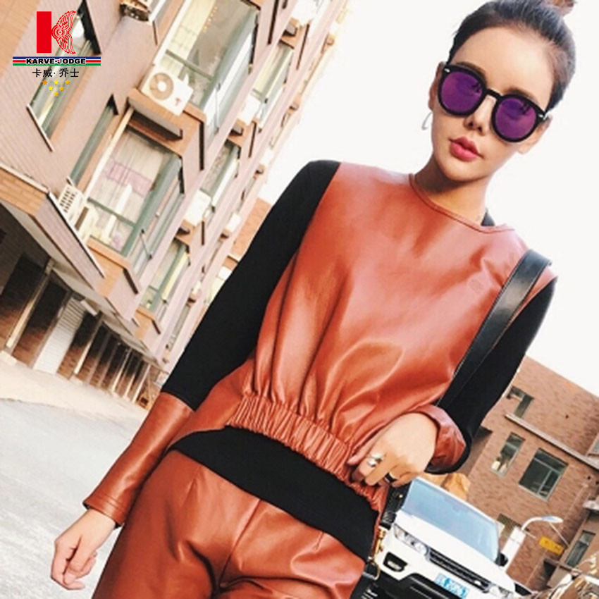 Brown Leather Trousers Leggings Outfit Womens Leather Pants Skinny Wide Leg Khaki Pants Trouser Pants For Ladies leather legging