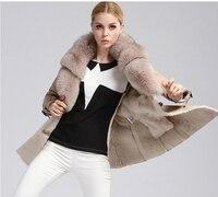 Новое поступление для женщин из натуральной овечьей кожи Дубленки шерсть выстроились кашемировое пальто с большой Лисий меховой воротник