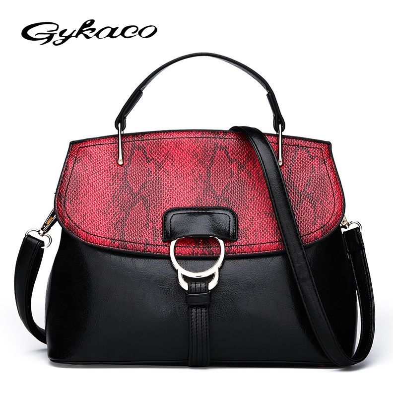 Gykaeo Fashion Snake Pattern Women Handbag Ladies Shoulder Messenger Bag Luxury Handbags Women Bags Designer Tote Bag Sac A Main women tote bag designer luxury handbags fashion female shoulder messenger bags leather crossbody bag for women sac a main