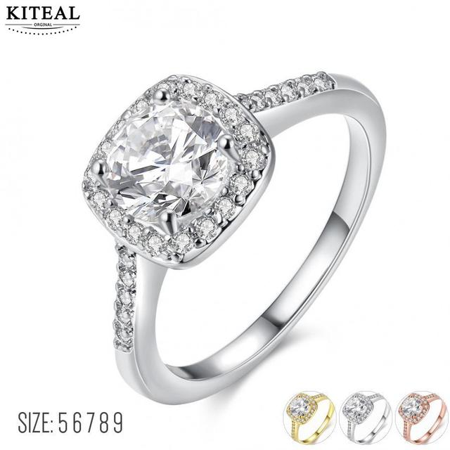 Silver/gold Color Exquisite Bijoux Square Wedding & Engagement Ring AAA cz Cubic