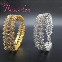 Charming Bride Wedding Bracelet For Women Crystal Jewelry Shiny Rhinestone Wide Bracelet Femme Princess Wedding Jewelry
