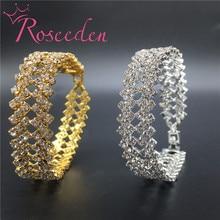 Charming bride wedding bracelet for women crystal jewelry Shiny rhinestone Wide Bracelet femme Princess Wedding Jewelry RE693 charming faux pearl rhinestone decorated bracelet for women