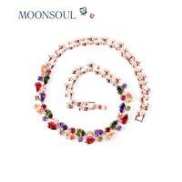 MOONSOUL rose Monalisa multicolored AAA cubic zirconia water drop necklace N10004