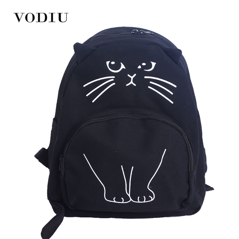 2017 Cute Designer Harajuku Printing Cat Ear Black White Canvas Backpack Women School Notebook Bag Teens Girl Rucksacks  Mochila