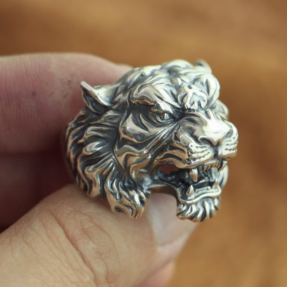 LINSION High Details Tiger Ring 925 Sterling Silver Mens Biker Punk Ring TA130 US Size 7~15 LINSION High Details Tiger Ring 925 Sterling Silver Mens Biker Punk Ring TA130 US Size 7~15