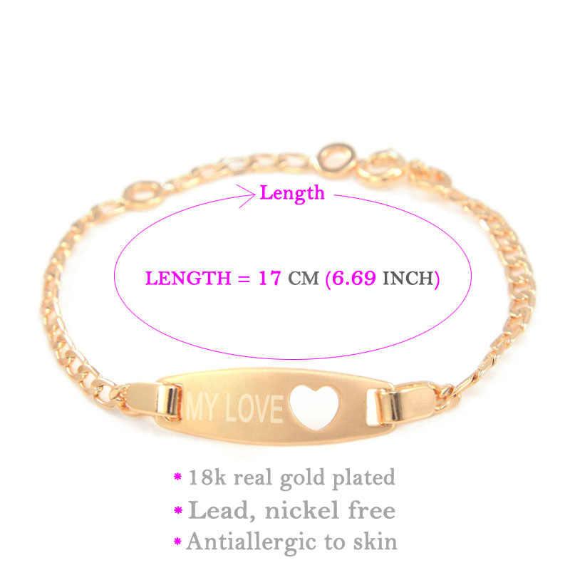 ca27f78a438b ... 17CM Heart Baby Bracelets Baby Girl Jewelry Kids Bracelet Gold Bracelets  Bangles Bracciali Enfants Pulsera Bebe ...