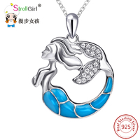 Strollgirl 925 فضة سلسلة قلادة قلادة الأزياء والمجوهرات تشيكوسلوفاكيا الأزرق حورية البحر قلائد للنساء 2017 هدية