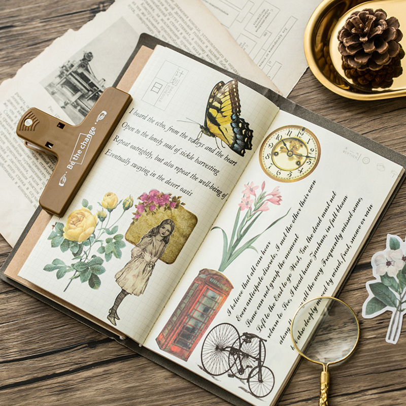 60pcs lot Retro Sticker Old Thing Various Special Shaped Decoration Paper Sticker DIY Album Flower Plants Label Diary School in Stickers from Home Garden