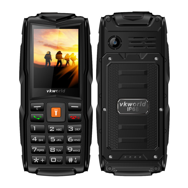 Original VKworld New Stone V3 IP68 Waterproof Mobile Phone 3000mAh Outdoor 2.4inch 3 SIM Cards Flashlight Cell Phone