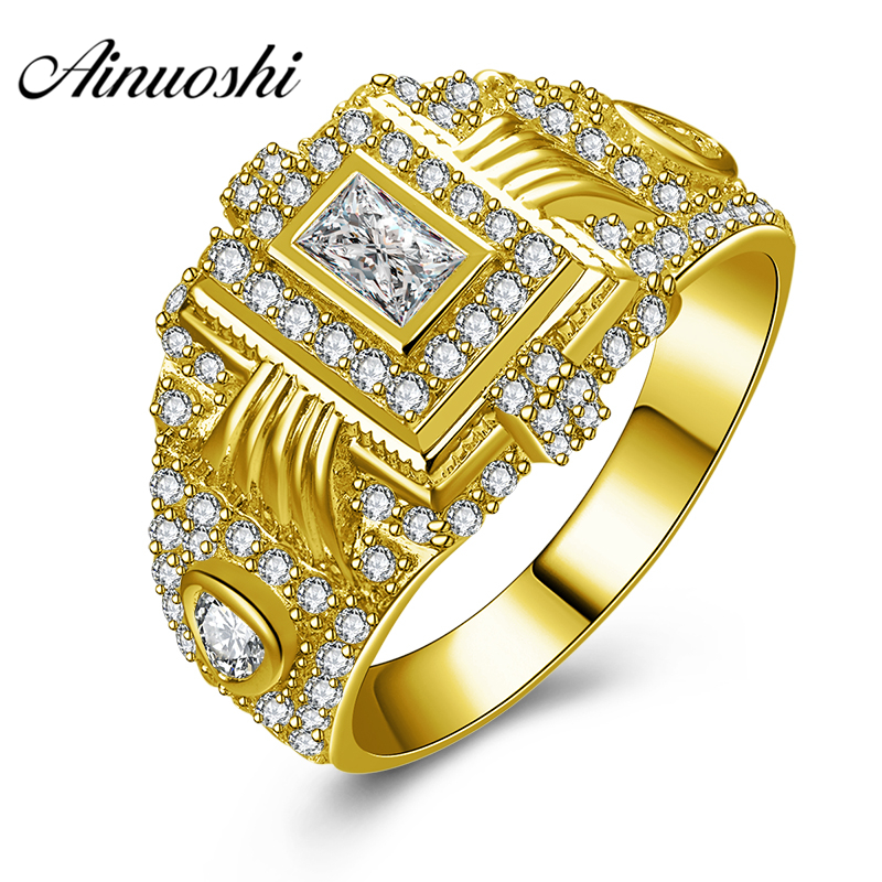 AINUOSHI Luxury 10K Solid Yellow Gold Men Ring 6.3g Wedding Band Rectangle Halo Ring Wedding Engagement Gold Jewelry Men BandAINUOSHI Luxury 10K Solid Yellow Gold Men Ring 6.3g Wedding Band Rectangle Halo Ring Wedding Engagement Gold Jewelry Men Band