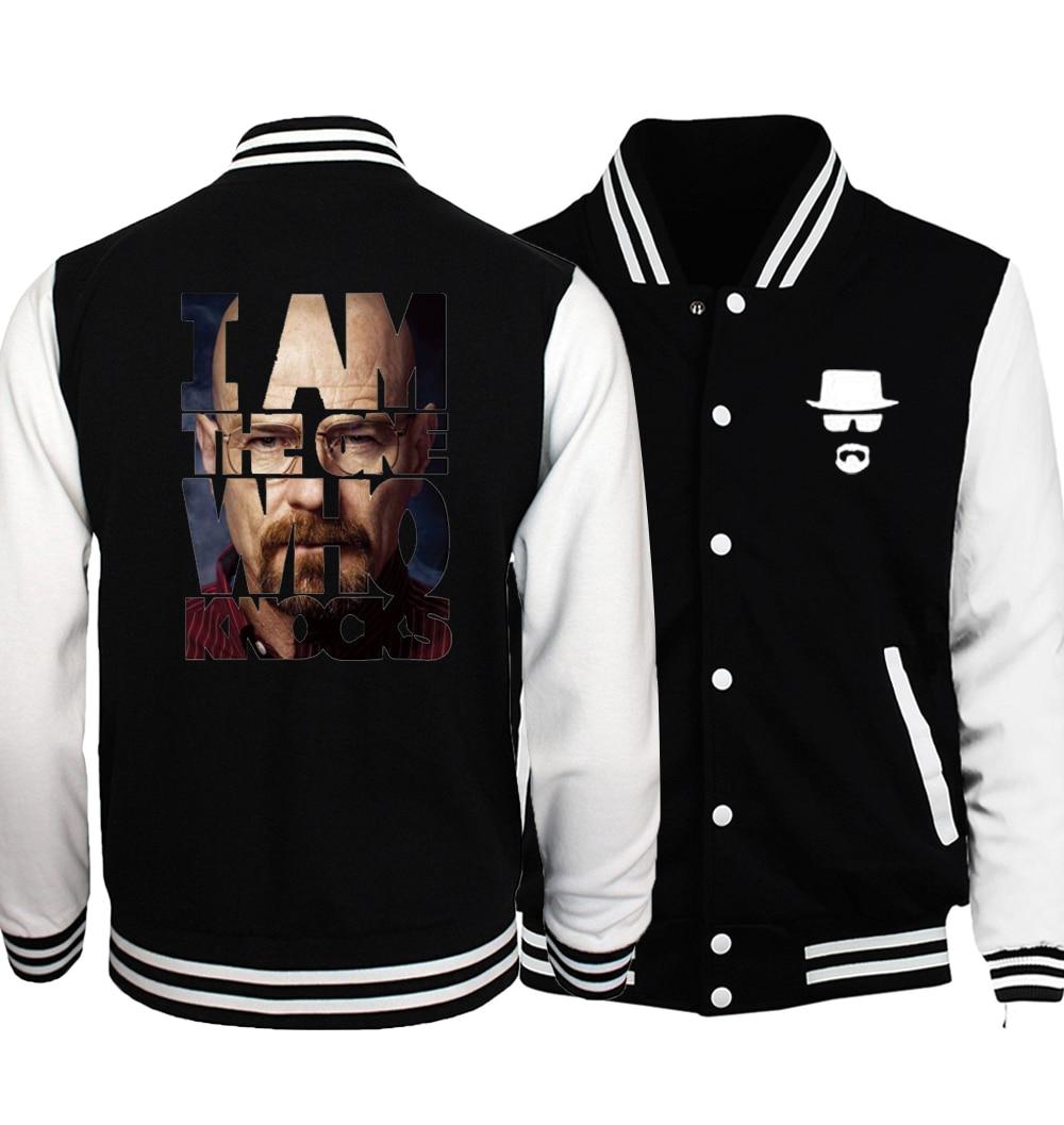 Breaking Bad Heisenberg Baseball Jacket Men 2018 Autumn Walter White Cook Coat Jackets Hipster Baseball Uniform Plus Size 5XL