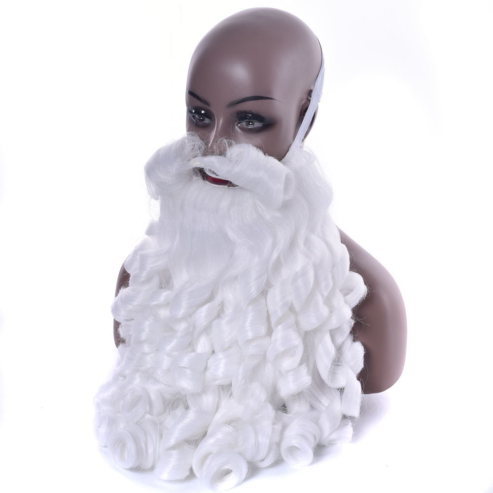 IMISSU Christmas Costume Accessories Santa Claus Hats And Beard Synthetic Hair White Cosplay Wig Headwear For Xmas Hat
