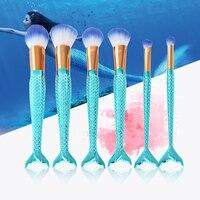 GUSTALA Colorful Mermaid Makeup Brushes Set 6pcs New Rhinestone Powder Foundation Eye Lip Concealer Face Brush