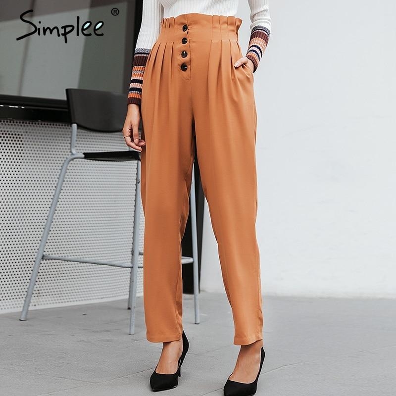 Simplee Ruffled Elastic High Waist Button Women Pants Casual Solid Streetwear Female Trousers Office Ladies Blazer Botttom Pants