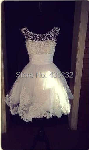 e38dbab1679 ... Charming New A Line Jewel Collar Sleeveless White Applique Pearls  Formal Party Homecoming Dress 2019 Short