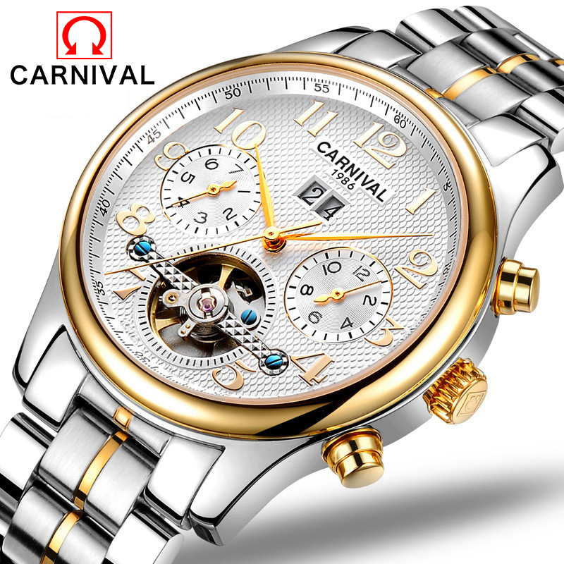 Carnival Watch Men tourbillon Automatic Mechanical Luminous Silver Stainless Steel Band Waterproof multifunction Watches цена и фото