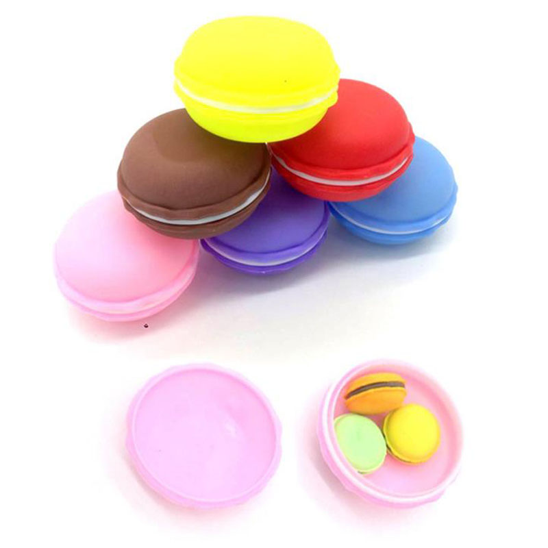 1 Pack Cute Macaroon Novelty Stationery Colorful Biscuit Eraser Student Teaching Office Stationery Korean-style Stationery