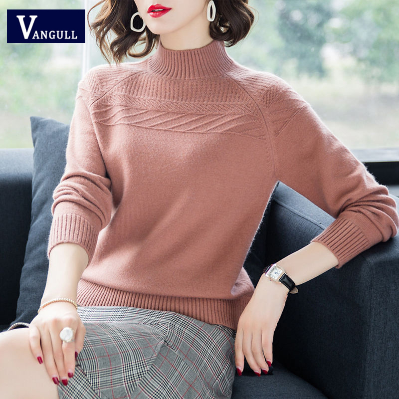 Vangull Women Solid Knitted Sweater Pullovers 2019 New Fashion Spring Autumn Casual Warm Female Pullover Lady Elegant Sweater