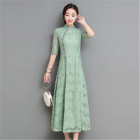 Spring And Summer Dress Vintage Big Size Floral Women's Long Dress Chinese Style Cheongsam Collar Large Size Female Dress J440