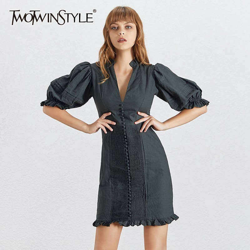 TWOTWINSTYLE Vintage Solid Women Dress V Neck Puff Sleeve High Waist Button Slim Mini Dresses Female Fashion Summer 2019 New