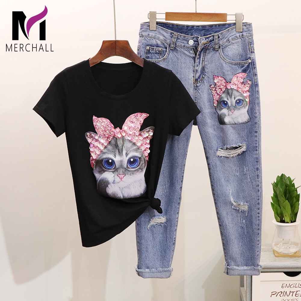 Women Pink Sequined Cat Cotton T-Shirts + Calf-Length Denim Pants Sets 2019 Summer Casual Cartoon Top Tee Hole Jeans 2 Piece Set