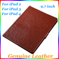 Genuine Leather Case High Quality For iPad 2 3 4 Leather Case Flip Cover For ipad2 For ipad3 For ipad4 Case Cover case Tablet PC